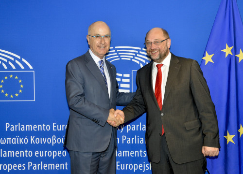 Josep Antoni Duran i Lleida with the President of the European Parliament, Martin Schulz (by EP)