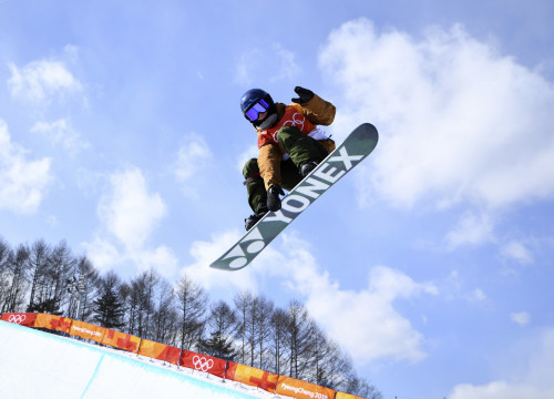 Snowboarder Queralt Castellet training in South Korea (by Mike Blake/Reuters)