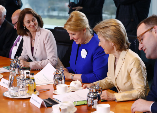 Germany's Justice Minister Katarina Barley (third from left) attends the first cabinet meeting in Berlin, Germany, March 14, 2018 (by REUTERS / Fabrizio Bensch)