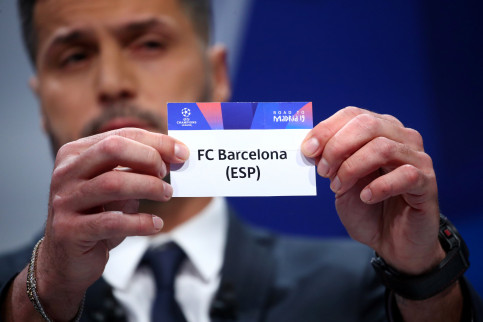 FC Barcelona's named gets drawn to play Manchester United in the Champions League quarterfinal