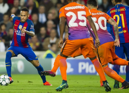 Neymar Jr during the game against City at Camp Nou (by FCB)