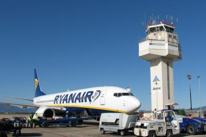 A Ryanair airplane at Girona airport.