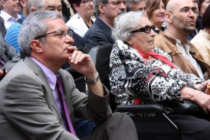 Neus Català, nazi camp survivor, and Joan Saura, Catalan Minister for Home Affairs, Insitutional Relations and Participatio
