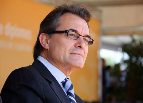 Artur Mas, leader of the Centre-Right Catalan Nationalist Party (CiU) at an event today