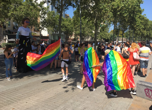 Barcelona Pride preparations in the sun. (Photo: Cillian Shields)
