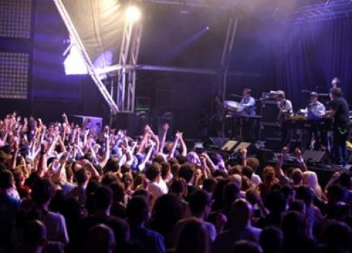 Concertgoers enjoy the 2010 edition of the Sónar Music Festival in Barcelona.
