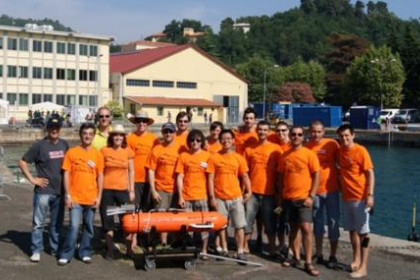 The group of students from the University of Girona who placed first in the European Robotic Submarine Competition.