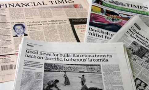 International newspapers have published reports about the Catalan ban on bullfighting