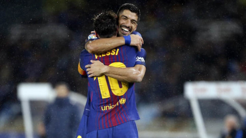 Suárez and Messi, scorers of three of Barça's four goals at Anoeta (Miguel Ruiz, FCB)