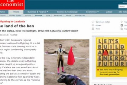 The article in 'The Economist' about the ban on bullfighting