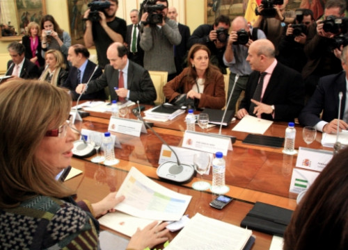 Catalan minister Irene Rigau in the negotiations in Madrid (by ACN)