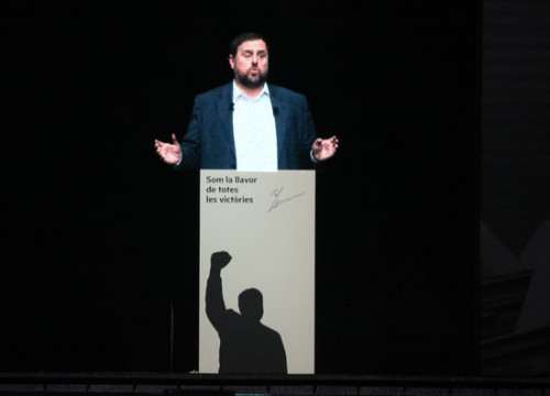 A projected photo of deposed jailed vice president Oriol Junqueras on January 29 2019 (by Nazaret Romero)