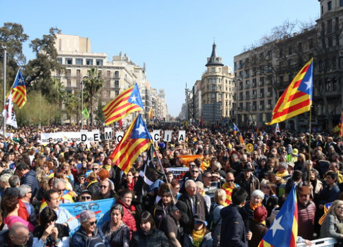 Independence supporters held a general strike in Catalonia in February