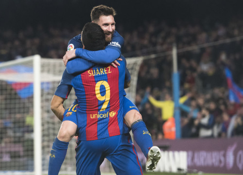 Messi and Suárez celebrating in Barça's last home game against Espanyol (by ACN)