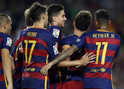 Bartra, Neymar and Messi all scored against Levante at Camp Nou on Sunday night (by FCB)