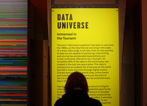 Visitor at the 'Big Bang Data' exhibition, at London's Somerset House
