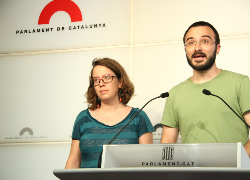 CUP MPs, Albert Botran and Eulàlia Reguant, this Tuesday (by ACN)