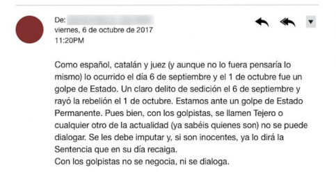Leaked message from a Spanish judge (published by eldiario.es)