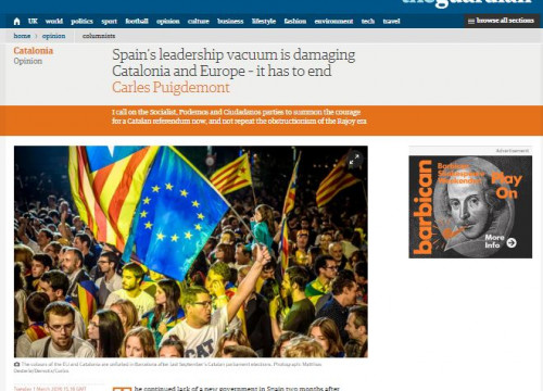 Image of the article written by Catalan President, Carles Puigdemont and published this Tuesday in 'The Guardian' (by ACN)