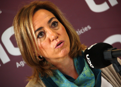 PSC's candidate for Barcelona, Carme Chacón during the press conference at CNA headquarters (by ACN)