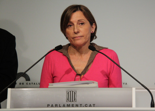 Parliament's President, Carme Forcadell, after convening the Spokesperson Bureau (by ACN)