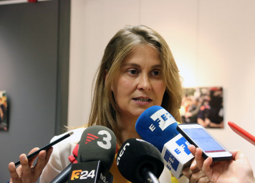 Catalan government delegate Meritxell Serret speaks to the press in Belgium on October 1 2018 (by Blanca Blay)