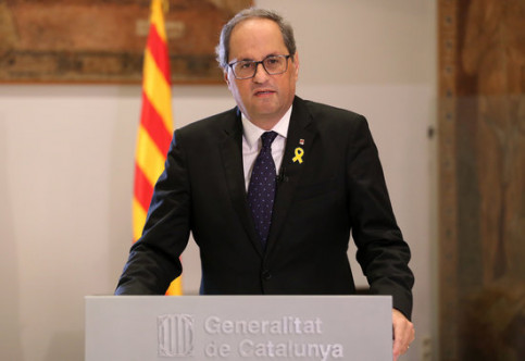Catalan president Quim Torra makes an institutional declaration on October 27 2018 (by Jordi Bedmar)