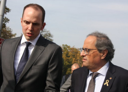 Catalan president Quim Torra meets with the president of the Zurich canton Thomas Heininger on October 18 2018 (by Alan Ruiz Terol)