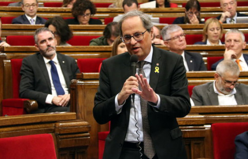 Catalan president Quim Torra speaks at parliament on October 24 2018 (by Àlex Recolons)