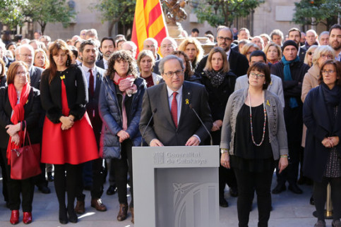 Catalan president Quim Torra speaks at the government headquarters in support of the prisoners ahead of their trial on January 30 2019 (by Jordi Bedmar)