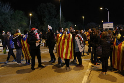 Catalan fans were out in force at the Montilivi Stadium, draped in both sporting and political colors