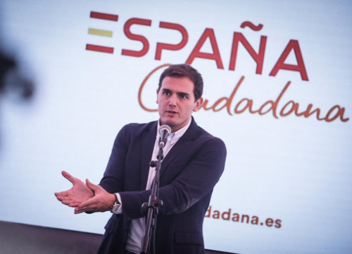 Cs leader Albert Rivera speaks at 'España Ciudadana' in Madrid on October 18 2018 (photo courtesy of Cs)