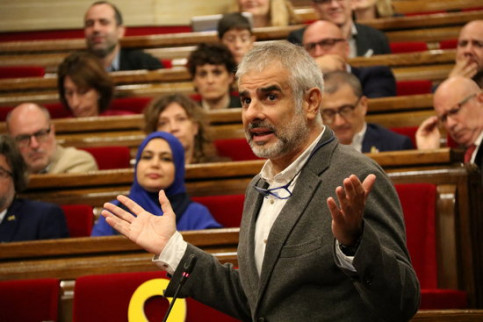 Cs spokespoerson Carlos Carrizosa speaks at the Catalan parliament on October 10 2018 (by Núria Julià)