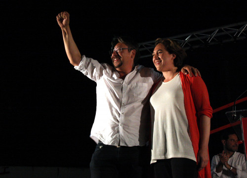Alternative left 'En Comú Podem' candidate for the Spanish Elections, Xavier Domènech, and Barcelona's Mayor Ada Colau (by ACN)