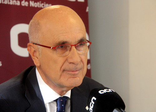 Christian-Democrat Unió's leader, Josep Antoni Duran i Lleida, at his press conference at CNA headquarters (by ACN)