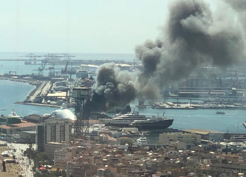 Fire in the port of Barcelona