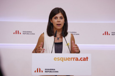 ERC spokesperson Marta Vilalta at a press conference on August 26, 2019 (Sílvia Jardí/ACN)