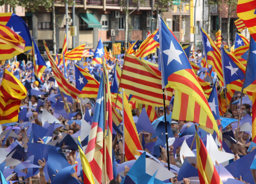 Pro-independence flags during 'Via Lliure' rally on last Catalonia's National Day (by ACN)