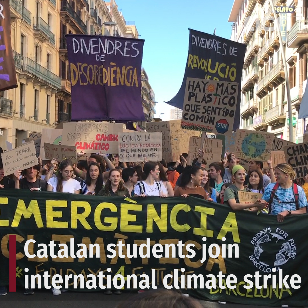 International Fridays for Future student climate strike takes to Barcelona streets