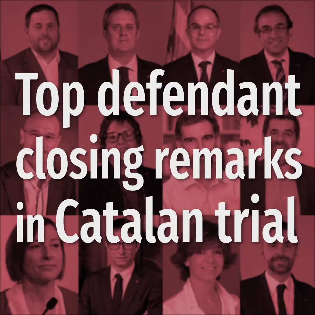 Top defendant closing remarks in Catalan trial