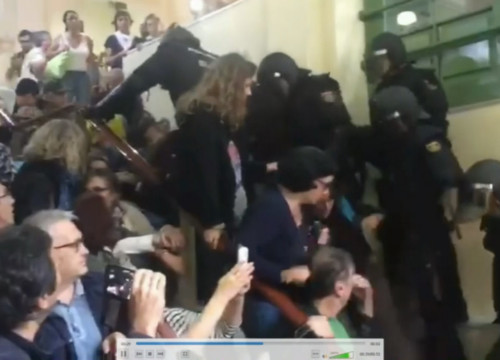 Footage of police at a Barcelona school on the day of the referendum shared in court on May 29