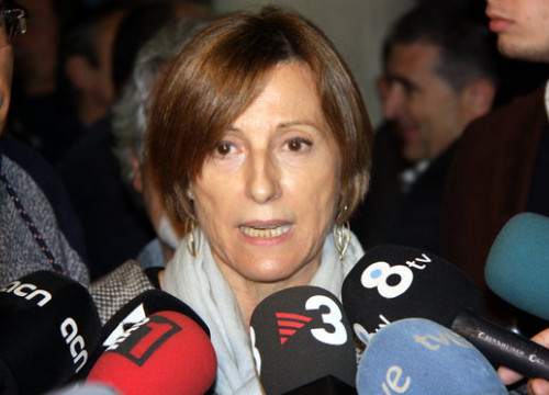 Close up of the President of the Catalan Parliament, Carme Forcadell (by ACN).