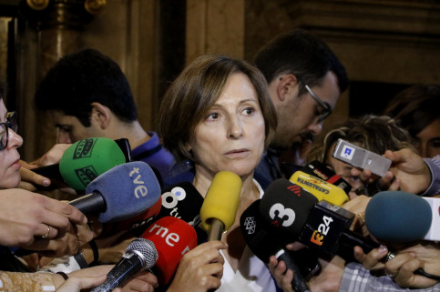 The President of the Catalan Parliament, Carme Forcadell, attending the press this Wednesday 19th of October 2016 (by ACN).
