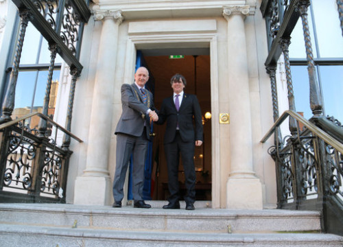 Former Catalan president Carles Puigdemont and Dublin mayor Nial Ring in Dublin on January 29 2019 (by Natàlia Segura)