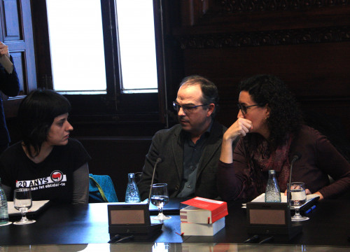 CUP MP, Anna Gabriel and 'Junts Pel Si's representatives, Jordi Turull and Marta Rovira, during the meeting of the Spokesperson Bureau (by ACN)