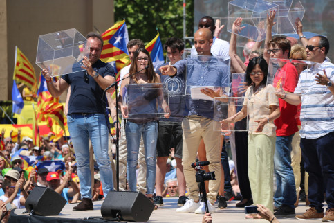 Pep Guardiola during the demonstration (by ACN)