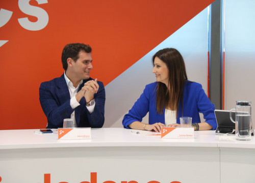 Head of Ciutadans in Spain, Albert Rivera, and in Catalonia, Lorena Roldán, on September 30, 2019 (by Roger Pi de Cabanyes)