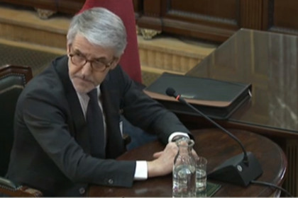 Juan Antonio Puigserver testifying in court at the Catalan Trial