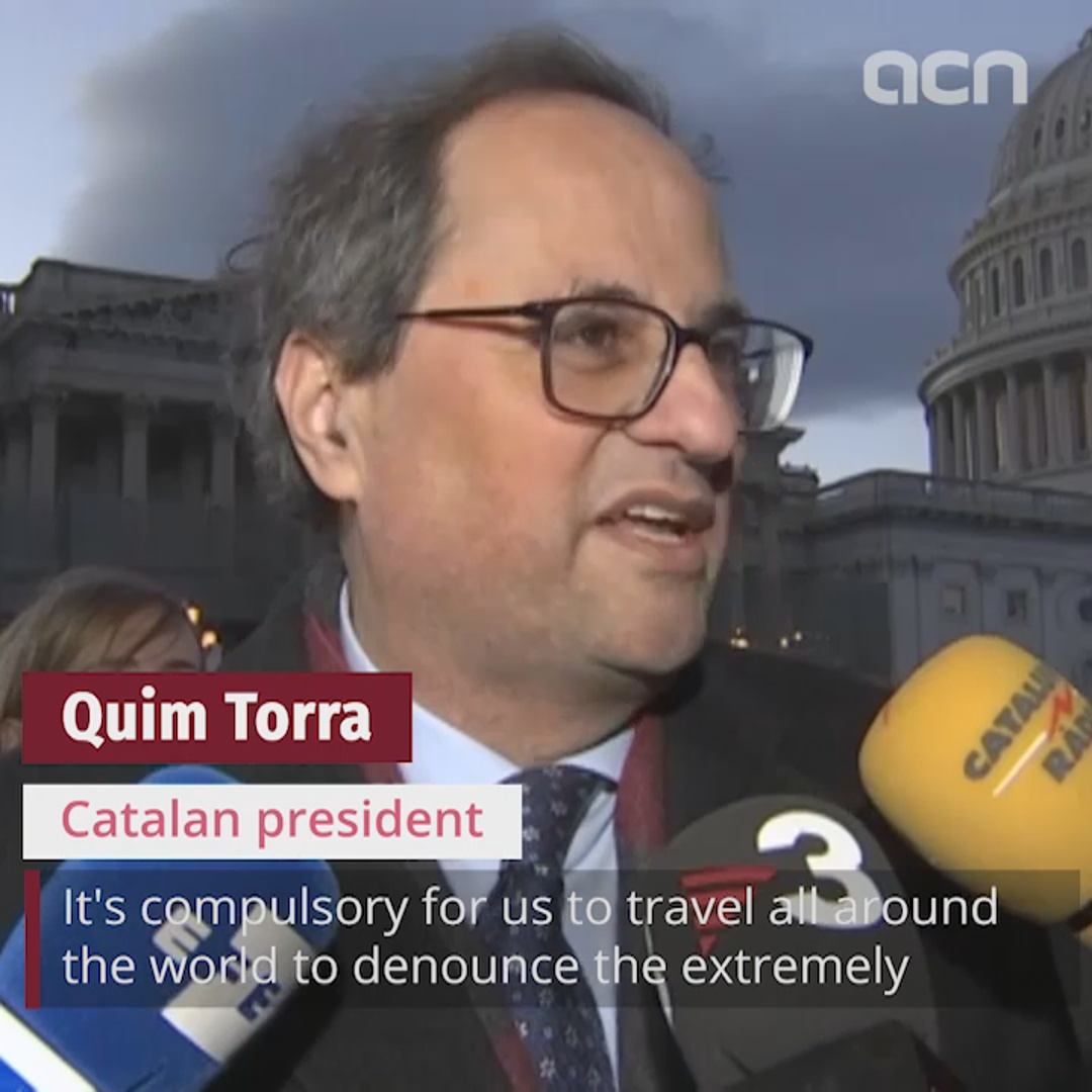 Catalan president speaks from the US Capitol