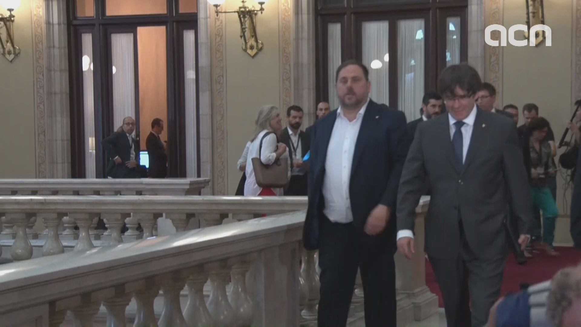 Catalan MPs arrive at the Catalan Parliament on Wednesday (by ACN)
